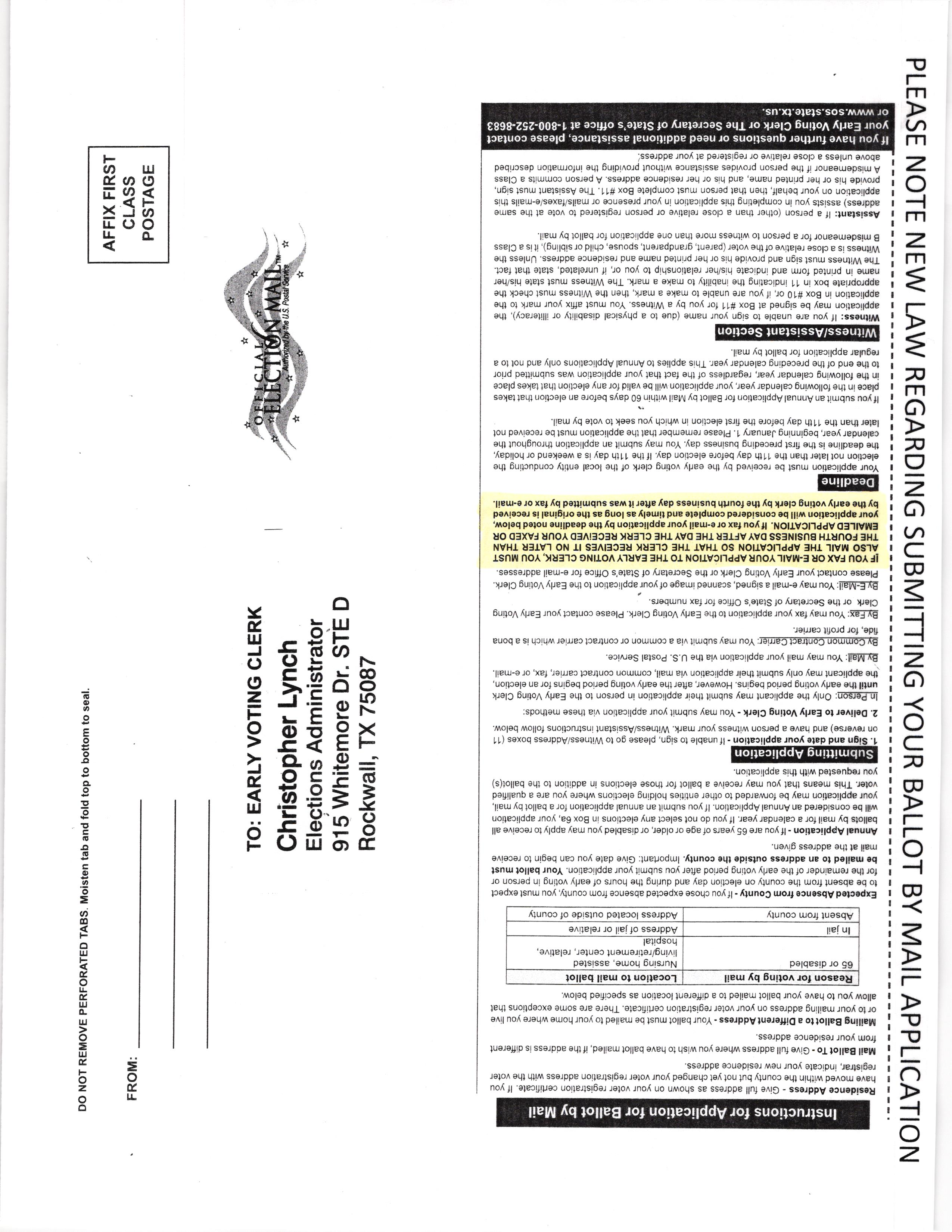 rockwall county tx elections ballot by mail application